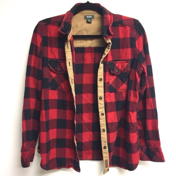 Roots Tops - (SOLD) ROOTS Plaid Flannel Shirt Elbow Patches